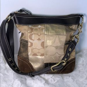 COACH Brown Patchwork Shoulder Bag